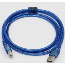 AM/BM 2м USB до принтерів прозорий синій